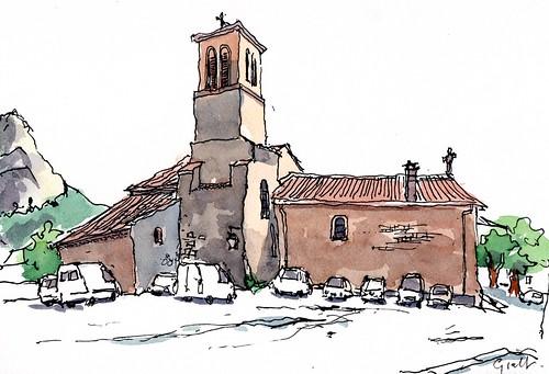 Saou kerk achterzijde