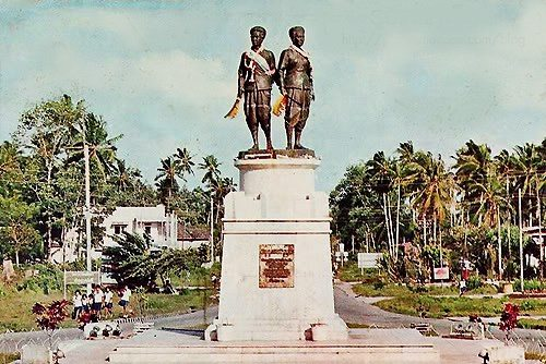 Monument to the two sisters who in early 1785 led Siamese in repelling the Burmese invasion of Thalang (now Phuket, Thailand). They were warned by Captain Light who would establish the British colony on Penang Island the following year. Photo circa 1970.