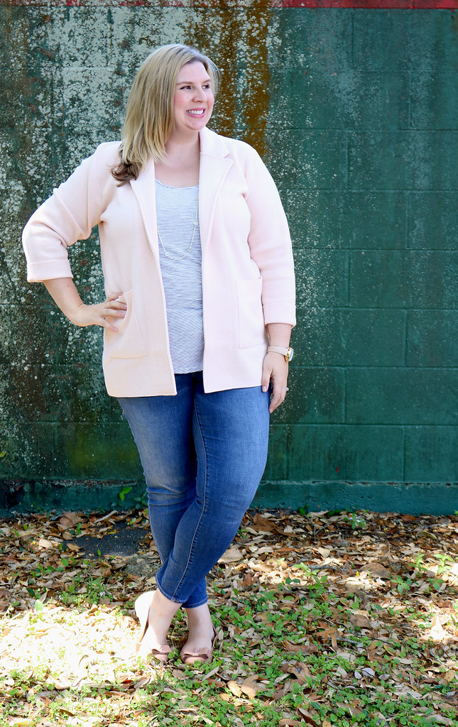 blush sweater cardigan, skinny jeans, black and white stripe luxe tank, bow flats 5