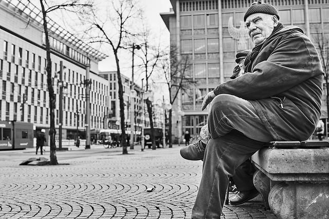 Mannheim Street Mann 558 b&w