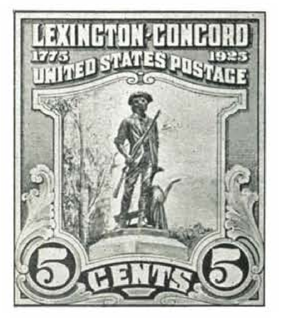 Unused design for 5-cent Lexington-Concord stamp in smaller definitive size.