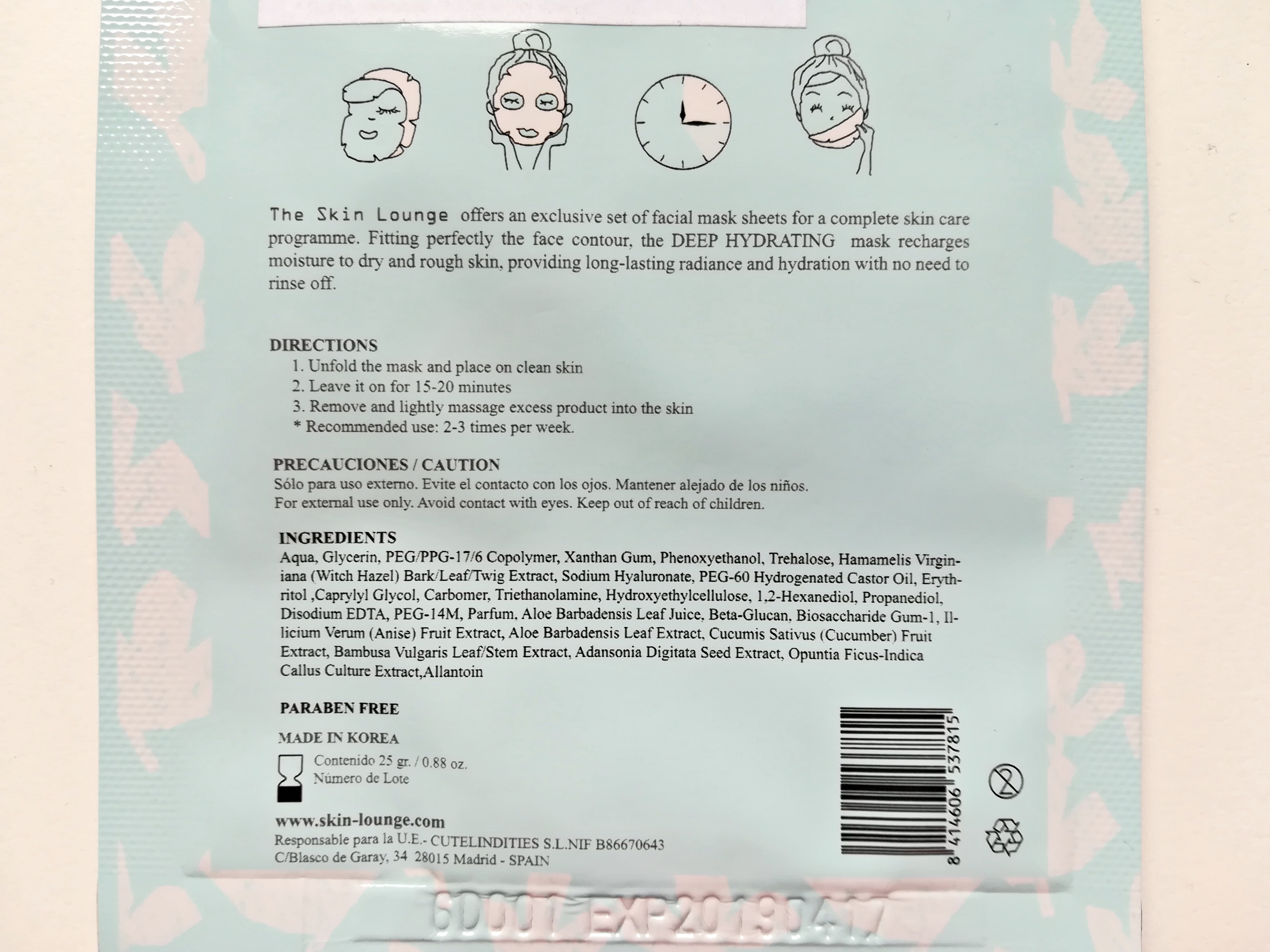 The Skin Lounge Deep Hydrating Facial Mask inci, SanniiJuliaa