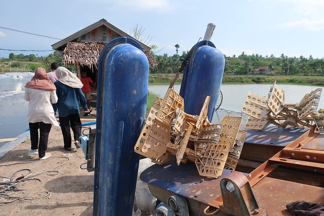 Aerators next to semi-intensive shrimp pond - Lhokseumawe, Indonesia. Photo by Cecily Layzell, WorldFish