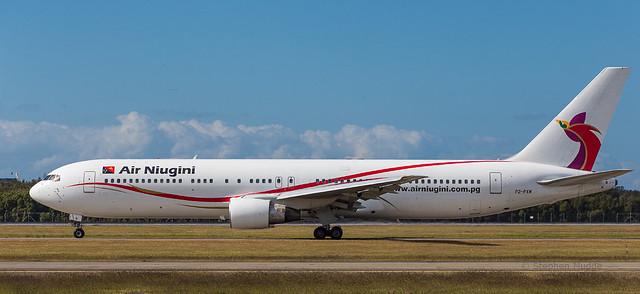 Boeing 767 departing Brisbane for Port Moresby
