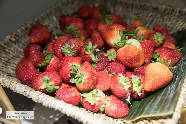 Fresh strawberries at the breakfast buffet