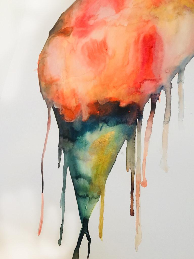Rebecca Pons, BECCA PONS + CREATIVE, watercolor, fine art, DREAMSICLE SNOWBALL, Nuits D' Èté En New Orleans Collection, Artist