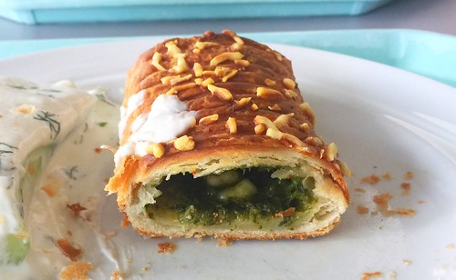 Spinach feta strudel - Lateral cut / Spinat-Feta-Strudel - Querschnitt