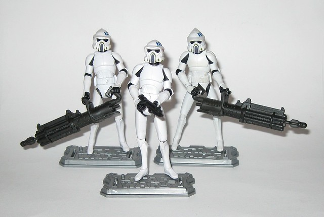 arf trooper x 3 star wars the clone wars cw18 blue black packaging basic action figures 2010 hasbro c