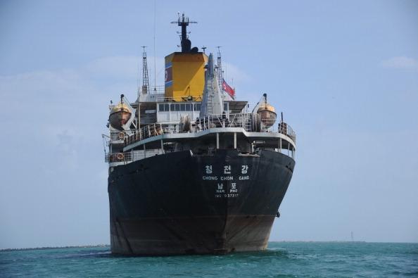 North Korean cargo ship Chong Chon Gang at anchor in front of Sherman Base near Colon, Panama. Photo taken on February 12, 2014.