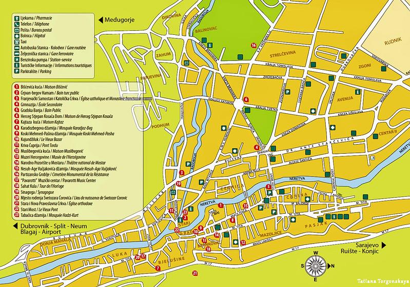 Туристическая карта города Мостар