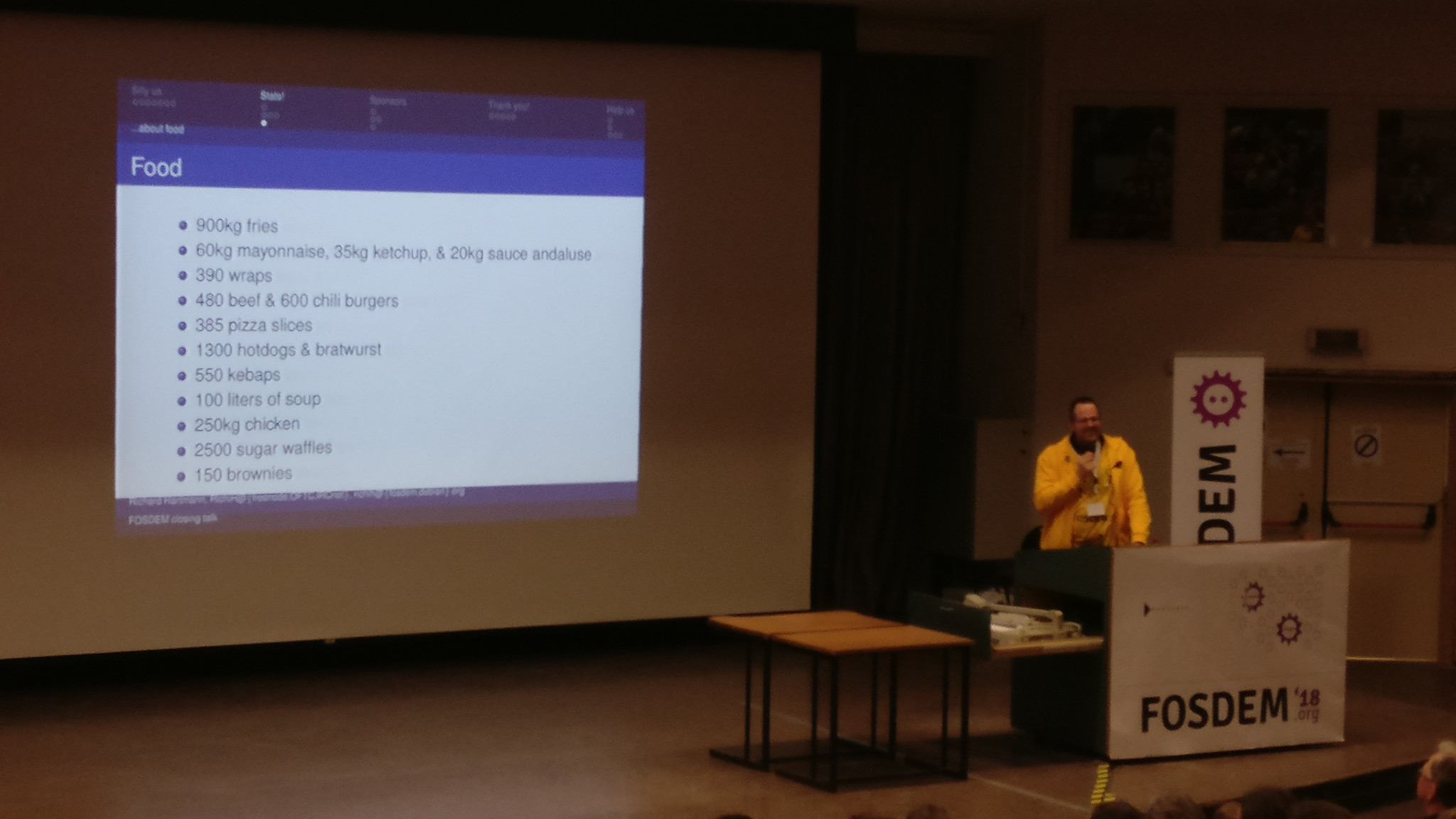 Incredible statistics related to food at FOSDEM 2018