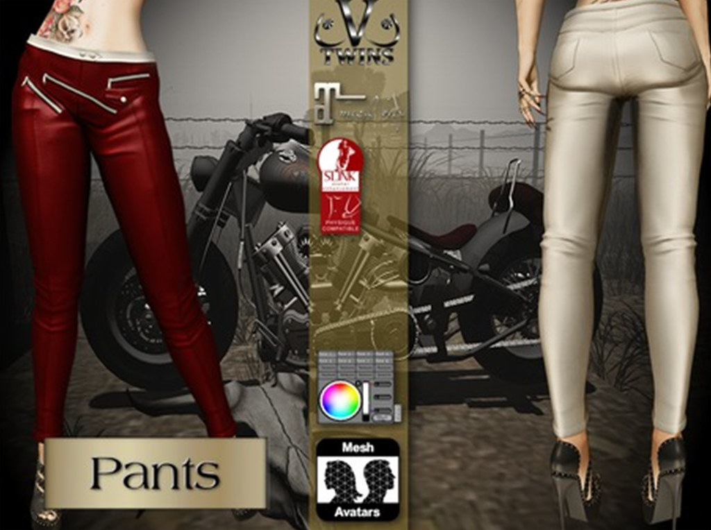 V-Twins Biker Clothes – Individual Items Mesh Pants/Jeans – Zephyr Color Version (Slink, Belleza & Maitreya)