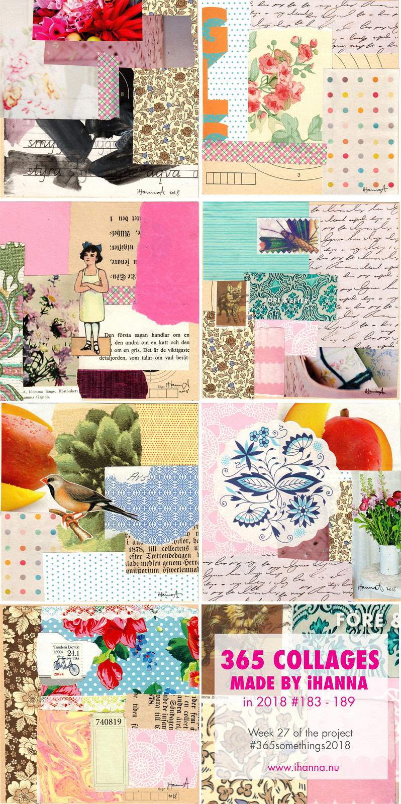 iHanna's 365 Collages in 2018 Week 27 (183 to 189) - Copyright Hanna Andersson, Sweden #365somethings2018