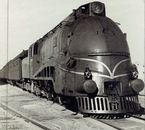 "Iraq Railways - Iraqi State Railways Class PC 4-6-2 streamlined steam locomotive Nr. 502 ""Mosul"" (Robert Stephenson & Co, Newcastle and Darlington 6983 / 1940) at Mosul, 17 February 1943"