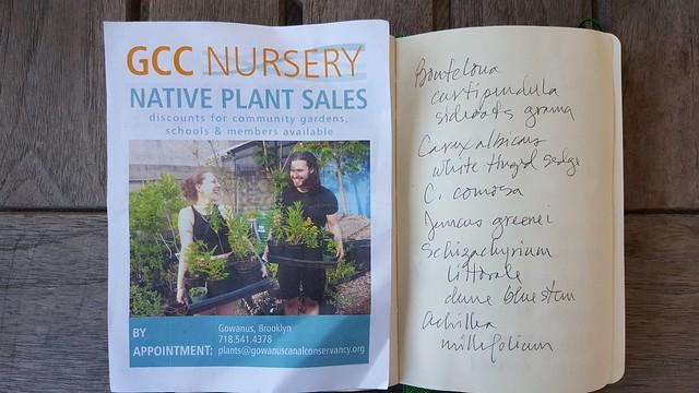 Partial Shopping list for Gowanus Canal Conservancy Native Plant Sale, April 2018
