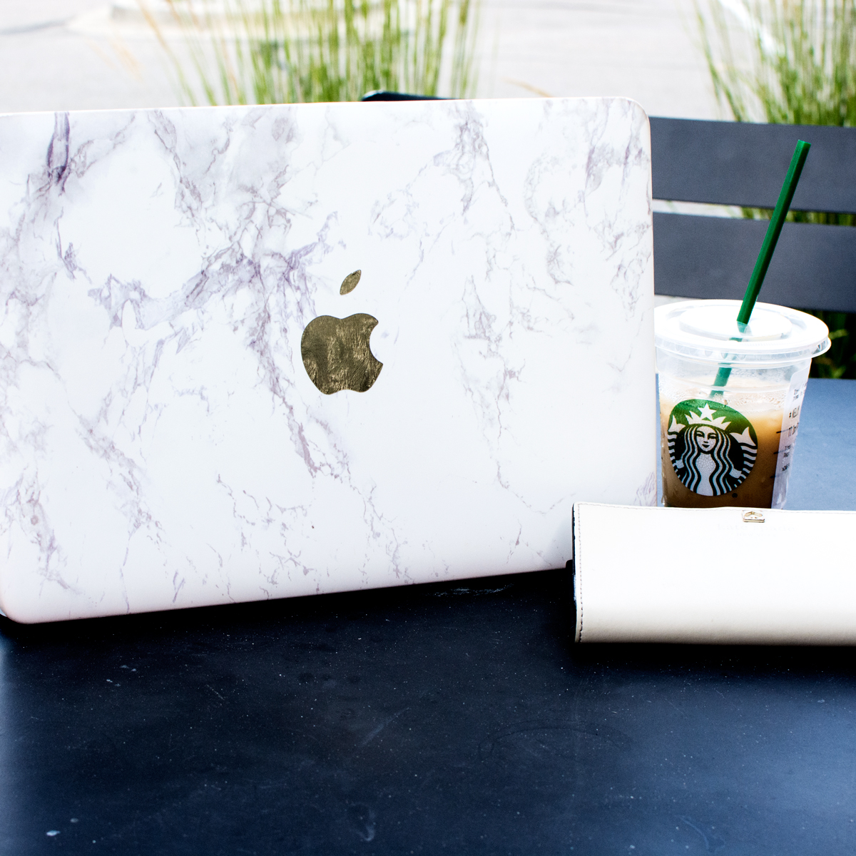 DIY White Marble and Gold MacBook Case