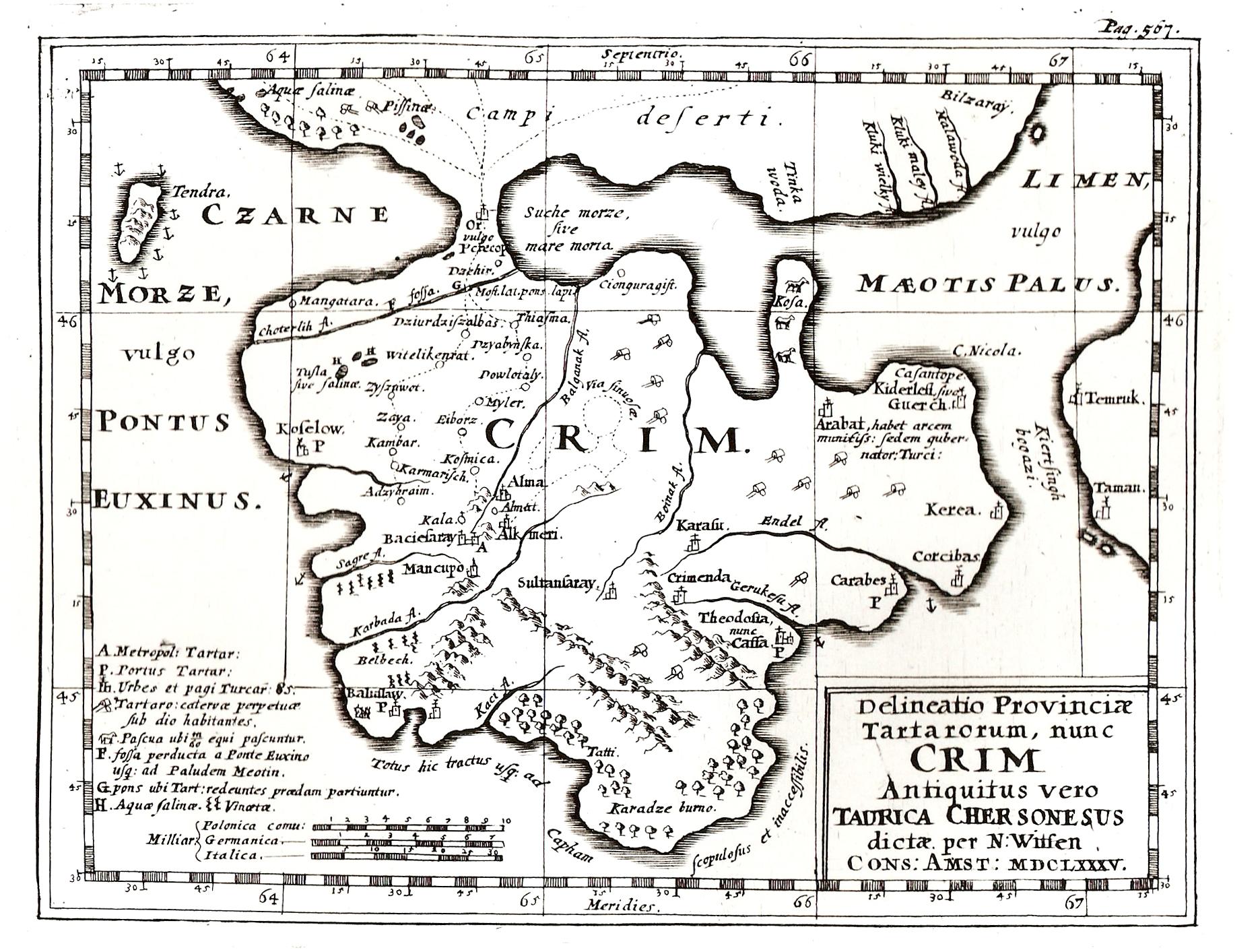 Карта Крыма, составленная Витсеном в 1685 г
