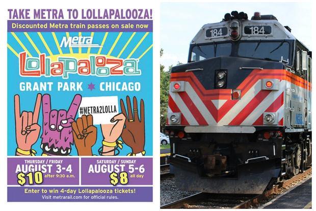 Metra (Chicago) Lollapalooza concert transit pass
