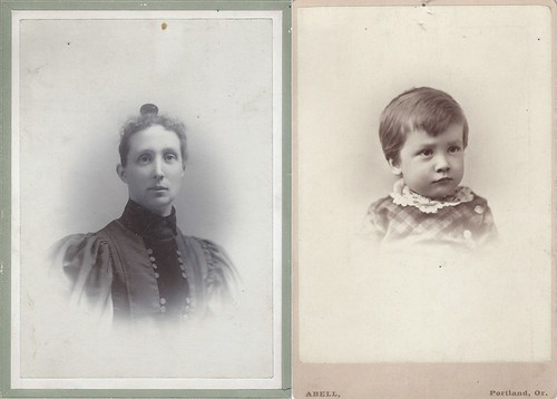 Martha Kelly Plummer and Her Son Ross Mills Plummer (Cabinet Cards by George W. Davies and by Franklin Abell, both Portland, Oregon)