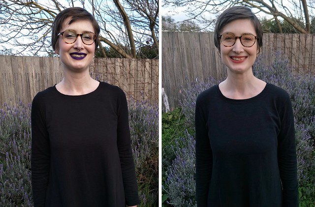 Two images of a woman's torso: she wears nearly identical black dresses with slightly different necklines.