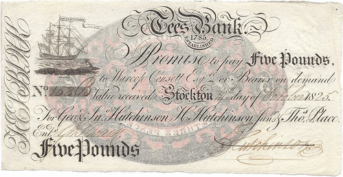 1825 Tees Bank Five Pound banknote