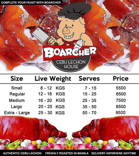 boarcher lechon price list