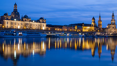 Dreden Altstadt reflection in blue hour