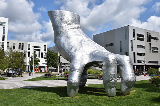 Giant metal hand outside MOCA in Cleveland