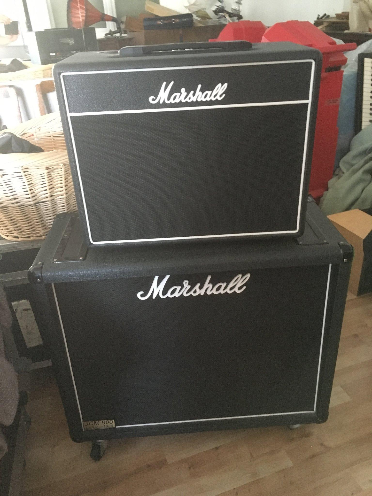 Marshall Class 5 with 2 x 12 cab, plus VOX AC4 C12 in cream - Amps