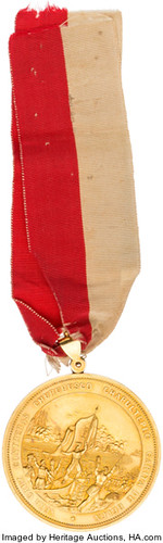 South Carolina Palmetto Regiment Gold Medal obverse with ribbon
