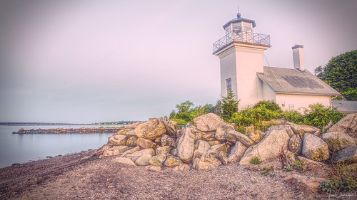 lighthouse bristolferry bristol rhodeisland building architecture beach rock rocky water coast shore transportation navigation antique vignette earlymorning dawn hdr