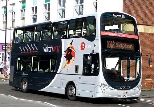 BF63 HCX 'Transdev Burnley & Pendle No. 2779 'X43 the witch way'. Volvo B9TL / Wright Gemini Eclipse on 'Dennis Basfords's railsroadsrunways.blogspot.co.uk'