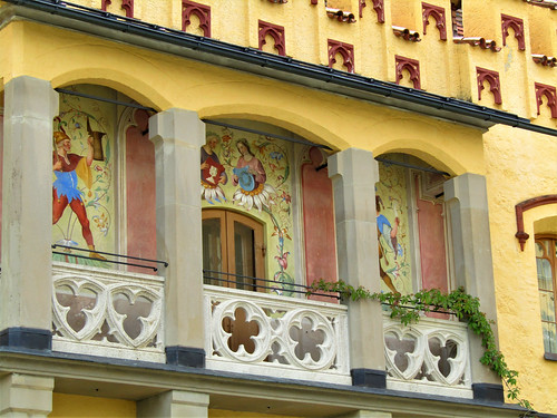 balcony at Hohenschwangau Castle with beautiful paintings on wall