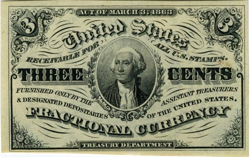 Three Cent Fractional Currency Note