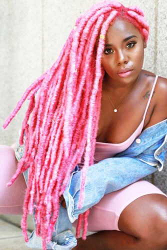 Waist Length Baby Pink Faux Locs