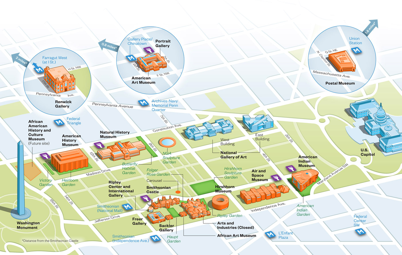 Map showing Smithsonian Institution museums on and near the National Mall in Washington, D.C.