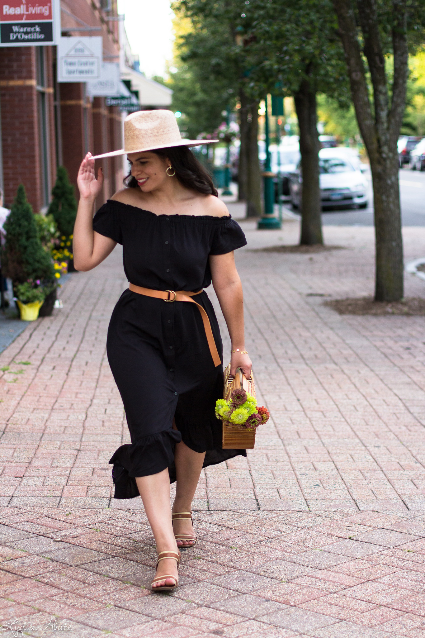 black off the shoulder dress, straw hat, bamboo bag-19.jpg
