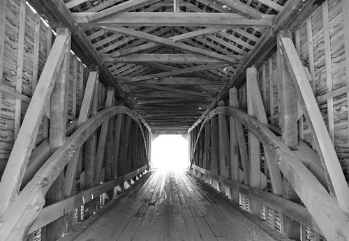 Covered Bridge in Black and White