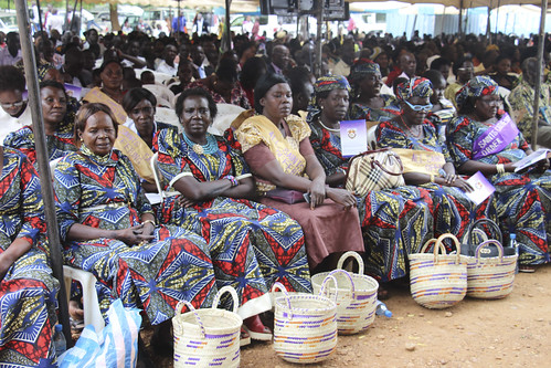22 April 2018: Some of the congregation for the installation of Archbishop Justin Badi Arama as Primate of South Sudan, at All Saints Cathedral Juba, sat outside under temporary tarpaulin shelter, as teh cathedral could not accommodate the thousands who t