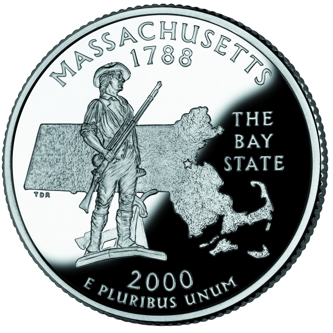 United States 2000 commemorative quarter dollar (US $0.25) for Massachusetts depicting The Minute Man statue in Concord.