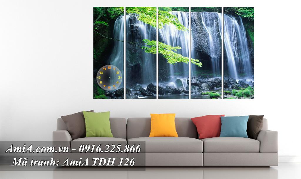 Tranh phong cảnh thác nước khổ lớn treo phòng khách đẹp