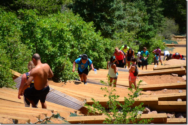 Hikers climbing up the Manitou Incline in Manitou Springs (1)