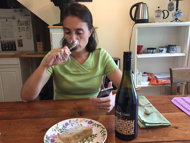 Maria tasting Garnacha y Valdeon for Just the Bottle 1