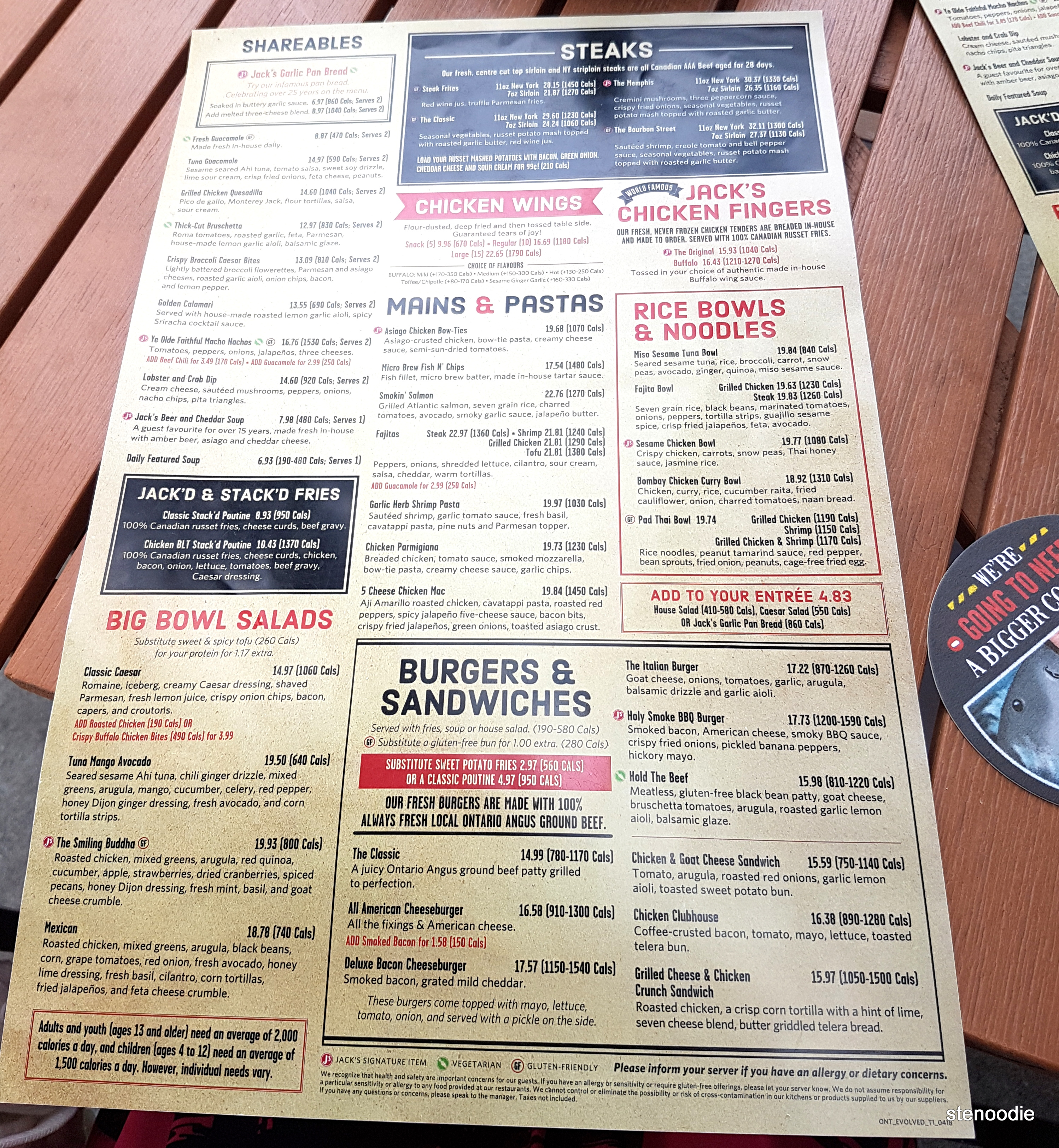 Jack Astor's menu and prices