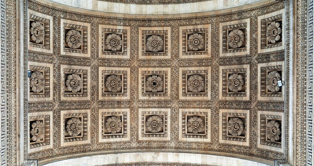 Ceiling of the Arc de Triomphe, Paris, with 21 sculpted roses. Photo taken on July 4, 2011.