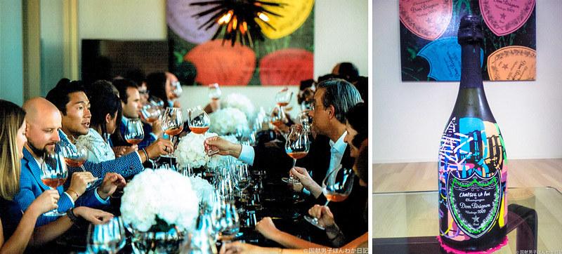 左:ドンペリ2009、ロゼ2005、P2-2000がふるまわれ皆さんワイワイグイグイ 右:ドンペリの依頼でキャンベル氏が制作した30本限定ボトル  写真提供:Campbell La Pun氏
