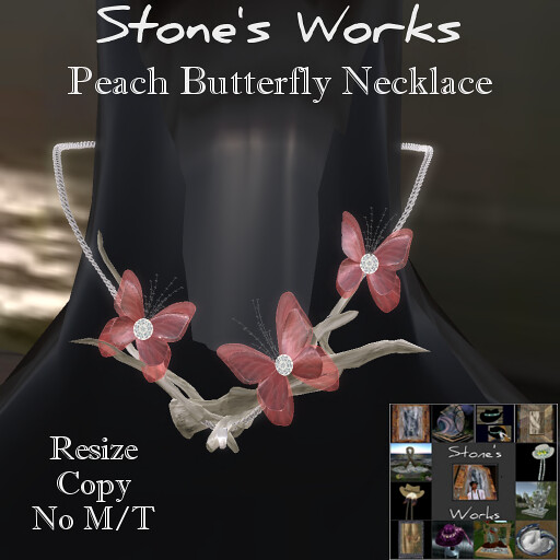 Butterfly Necklace Peach Stone's Works