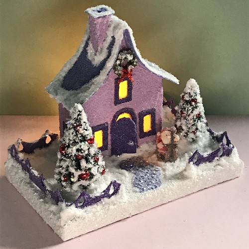 Lilac and Periwinkle Putz house