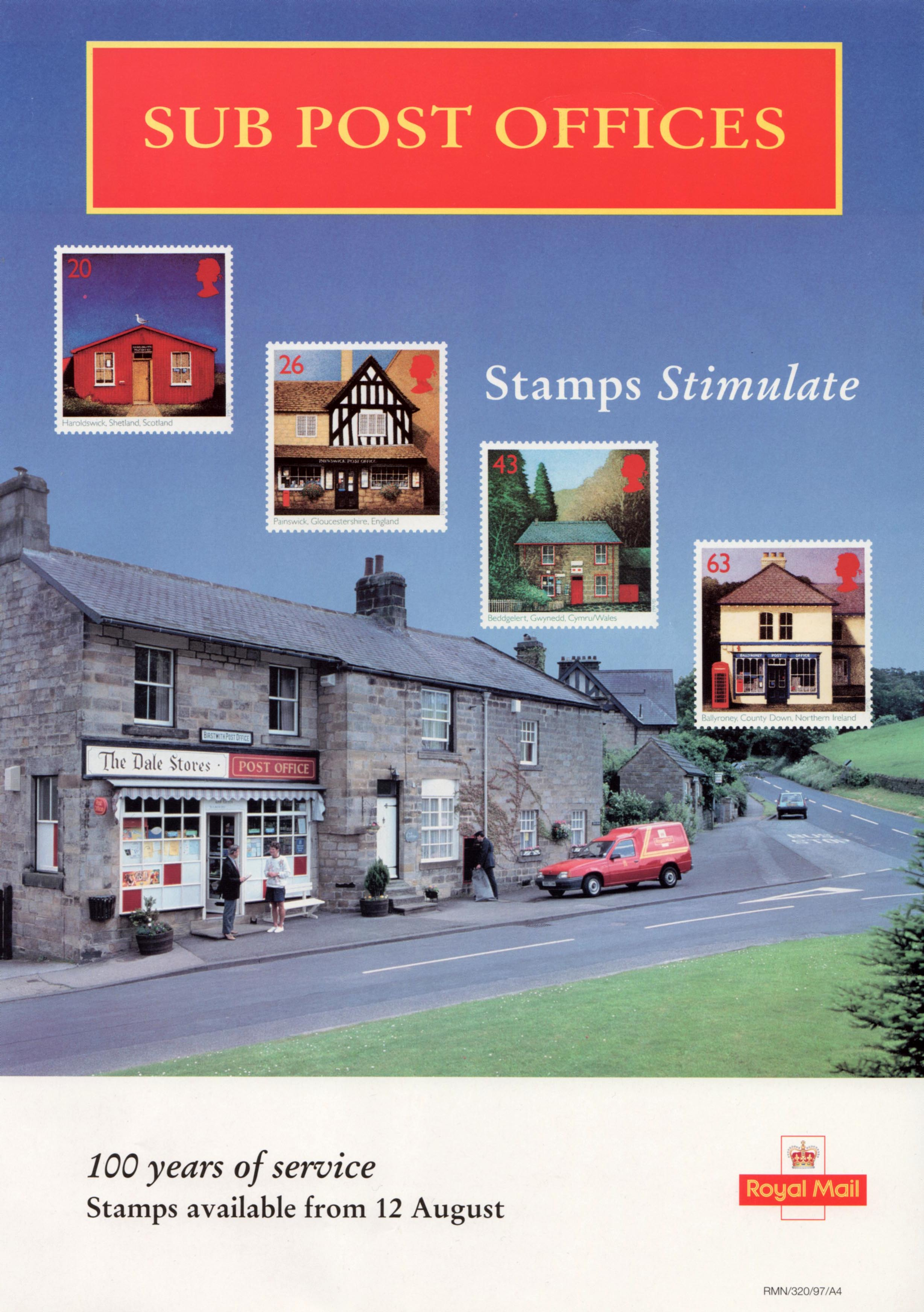Royal Mall poster for the Sub-Post Offices stamp issue of August 12, 1997.