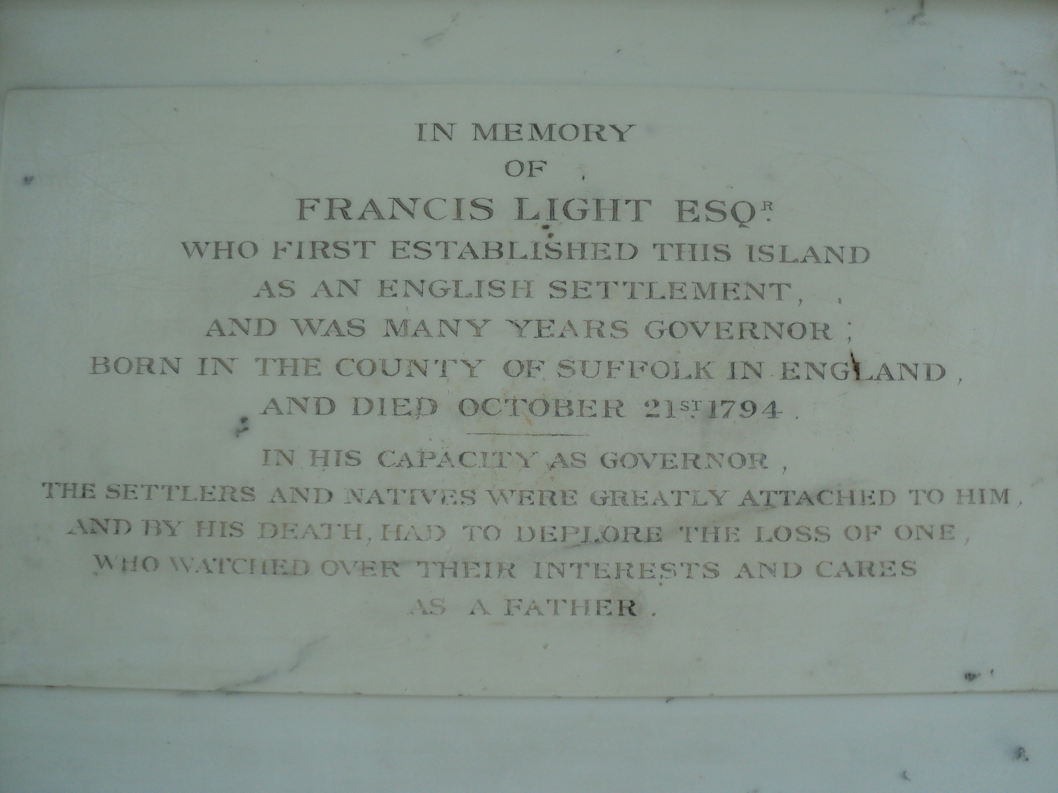 Plaque dedicated to Captain France Light in the memorial pavilion at St. George's Church, George Town, Penang. Photo taken by Mark Joseph Jochim on July 27, 2011.